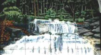 mural of a waterfall